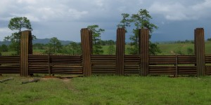 Fence built out of a dismantled Russian military outpost - Xienguang Province, Lao - 2009
