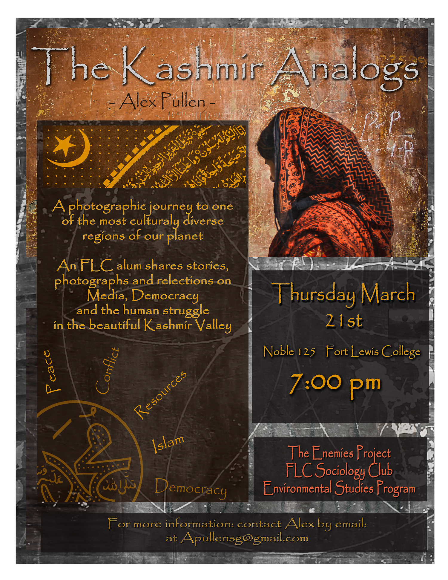 Flier I created about a talk on Kashmir I'm giving at Fort Lewis College this coming spring.