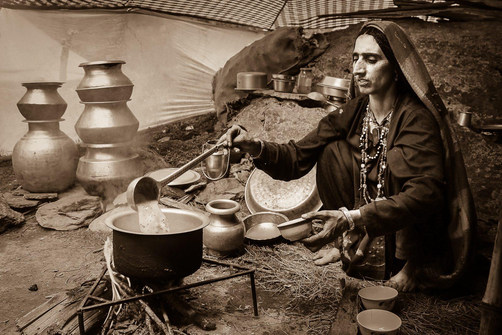 A nomadic woman serving us chai in her seasonal home - Eastern Kashmir -